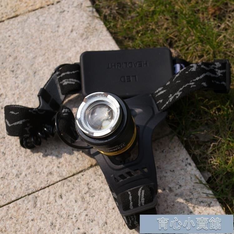 頭燈 碩森led超亮充電式頭戴T6手電筒疝氣夜釣魚鋰電強光變焦礦燈 -