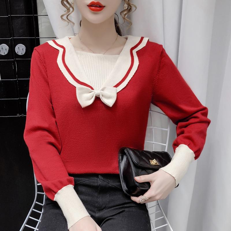 長袖針織衫女寬鬆顯瘦韓版設計感小眾時尚海軍領百搭毛衣蝴蝶結撞色減齡百搭套頭打底衫上衣