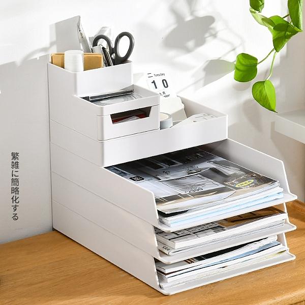 桌面多層文件架資料收納盒辦公用品收納書架分層資料學生收納架 【小美日記】