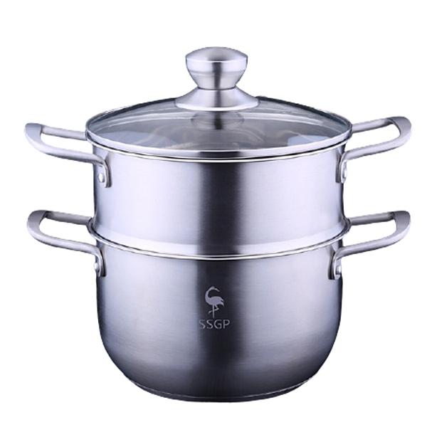 PUSH!廚房用品304不銹鋼三層複底湯鍋蒸鍋電磁爐蒸湯鍋具套裝鍋D237