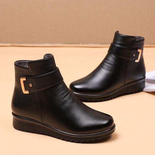 媽媽鞋冬季棉鞋加絨平底防滑保暖老人短靴中老年女鞋皮鞋中年冬鞋