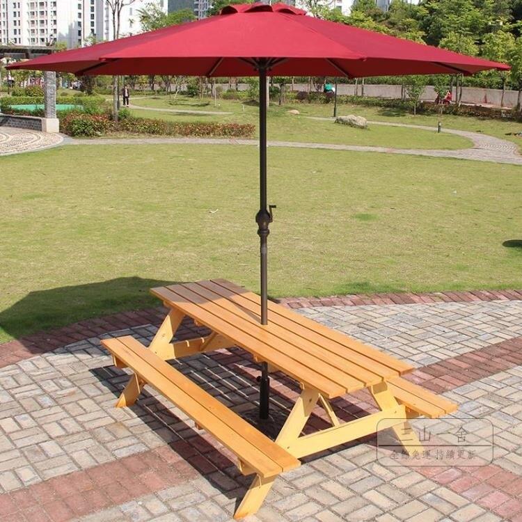 桌椅組合 防腐木戶外桌椅組合帶傘休閒室外遮陽傘庭院露天露臺實木連體餐桌-玩物志