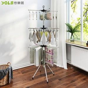 【YOLE悠樂居】不鏽鋼大容量三層多夾折疊收納毛巾曬衣架-56夾10桿