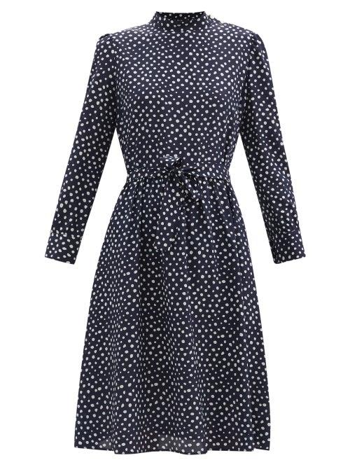 A.P.C. - Caroline Polka Dot Silk-crepe Dress - Womens - Navy