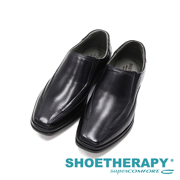 SAPATOTERAPIA巴西PARIS方頭點壓紋懶人皮鞋 男鞋-黑