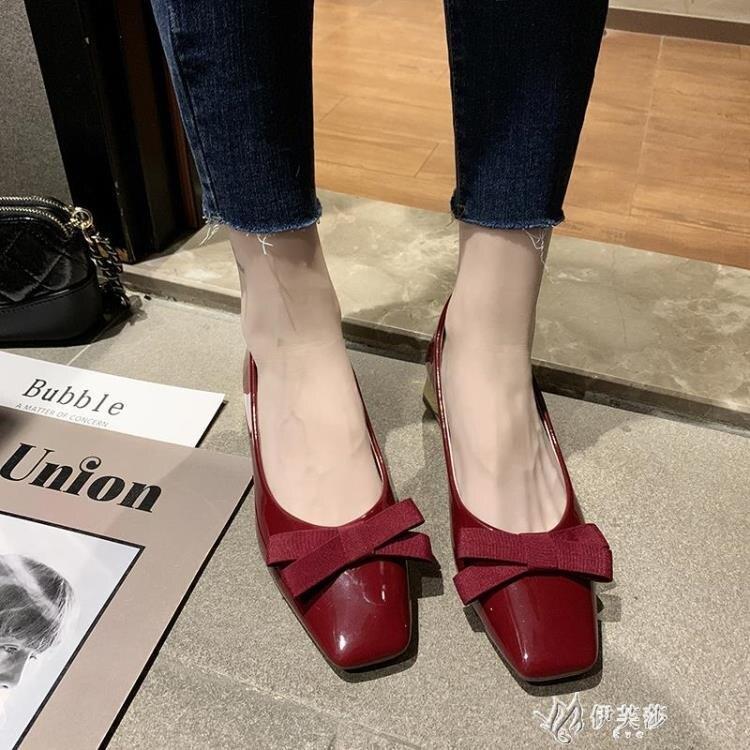 春款蝴蝶結方頭單鞋女春季百搭粗跟新款韓版中跟晚晚鞋仙女鞋