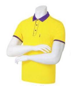[顏色:黃色|尺碼:XL] 車線 可愛的 領子襯衣 (9 color )團體T恤 隊服 運動 團體用短袖T恤 男士
