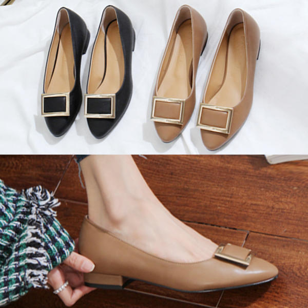 [DARKS箱包] 女士 平底鞋 方形金屬裝飾 單鞋 簡單款樂福鞋 皮鞋 新商品 牛津鞋225-255 大尺碼製作 黑色