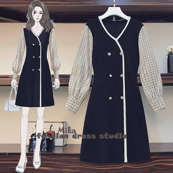 依米迦 洋裝 秋新款韓版微法式格子拼接顯瘦連身裙