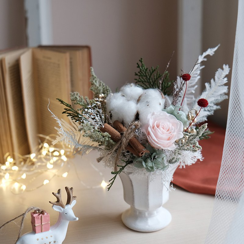 聖誕冠軍杯/粉白/不凋花/永生花/乾燥花/ 聖誕禮物
