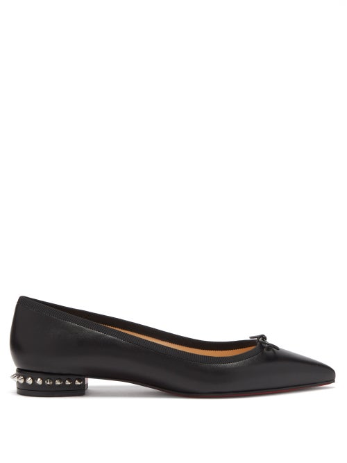 Christian Louboutin - Hall Spike-embellished Leather Ballet Flats - Womens - Black