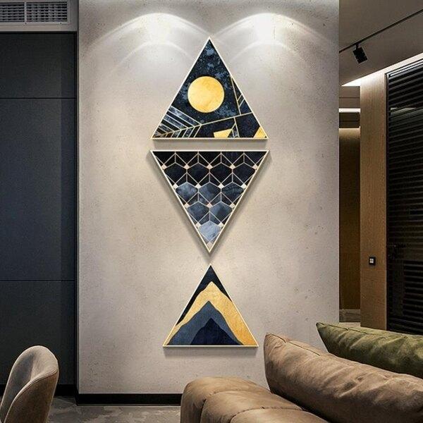 壁畫 玄關裝飾畫 走廊過道壁畫豎版 現代客廳抽象輕奢創意魚三角形掛畫 8號時光
