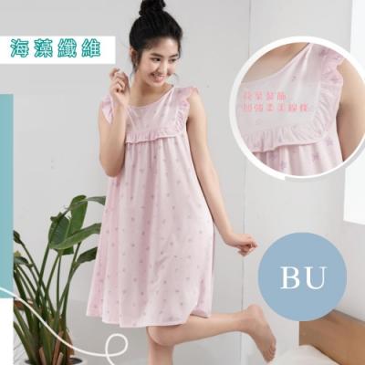 華歌爾睡衣-環保海藻纖維 M-L短袖睡衣裙(藍) 居家休閒