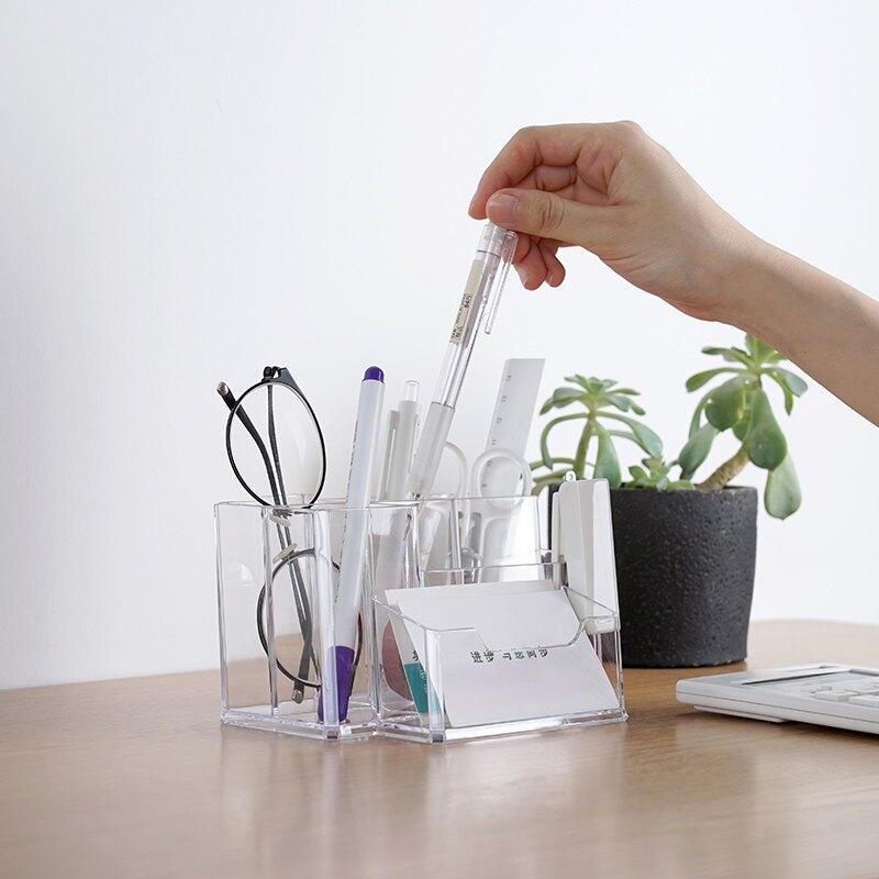 透明筆筒 北歐創意ins多功能女化妝刷桶收納盒學生桌面可愛筆架1入