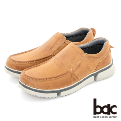 【bac】陽光樂活 帥氣馬克縫線休閒鞋-土黃色