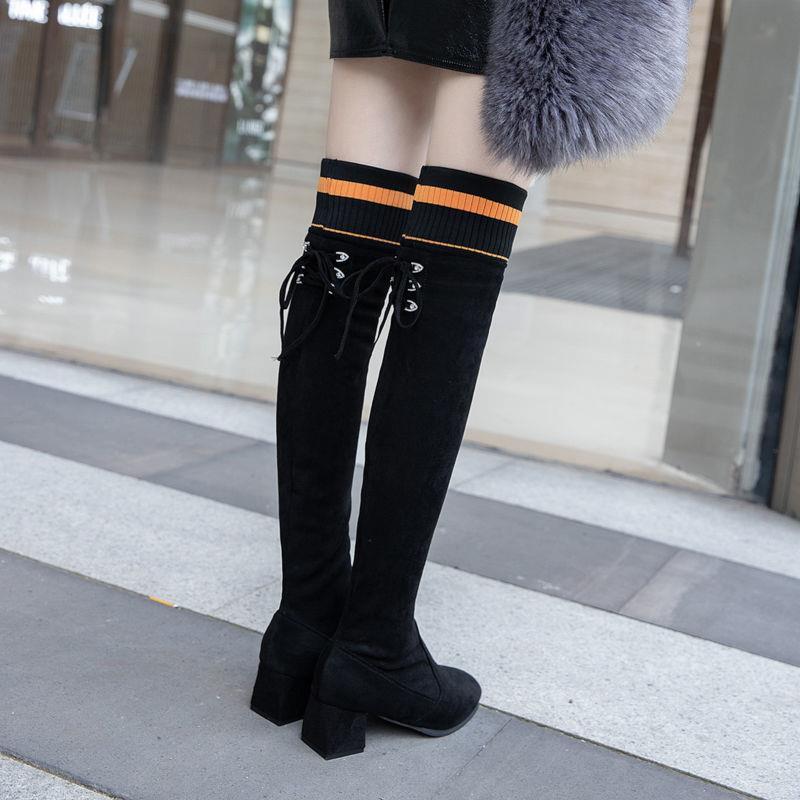 【現貨】【爆款】不掉筒網紅女靴秋冬新款韓版方頭粗跟高跟過膝長靴高筒彈力瘦瘦靴
