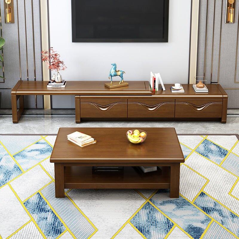 客廳實木電視柜茶幾中式組合簡約現代小戶型儲物伸縮地柜家用墻柜pd