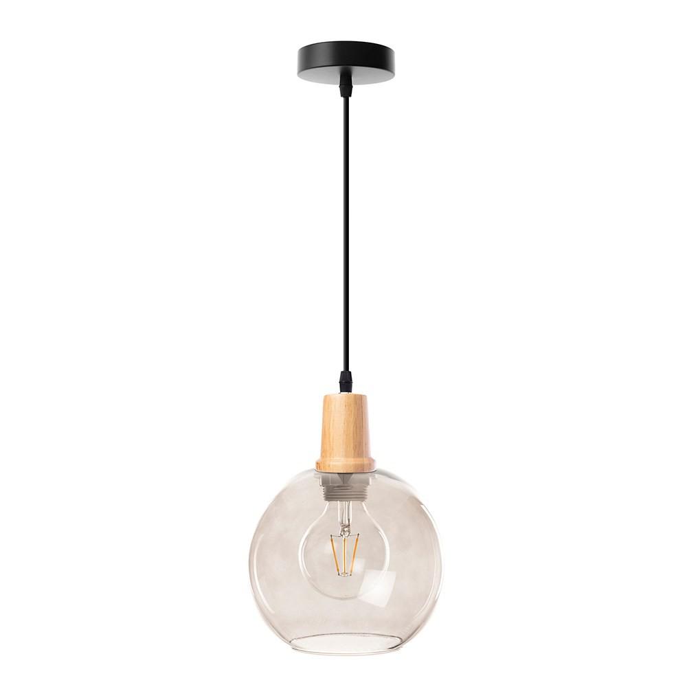 組 - 特力屋萊特 木質 吊燈 煙燻灰玻燈罩