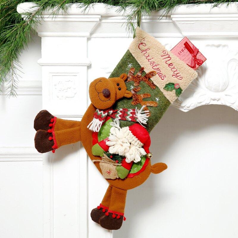 圣誕襪子禮物袋圣誕節裝飾品大號糖果襪兒童禮品袋櫥窗圣誕樹掛飾1入