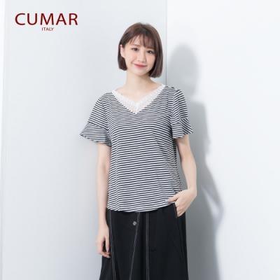 【CUMAR】蕾絲拼接條紋-上衣(三色/版型適中)