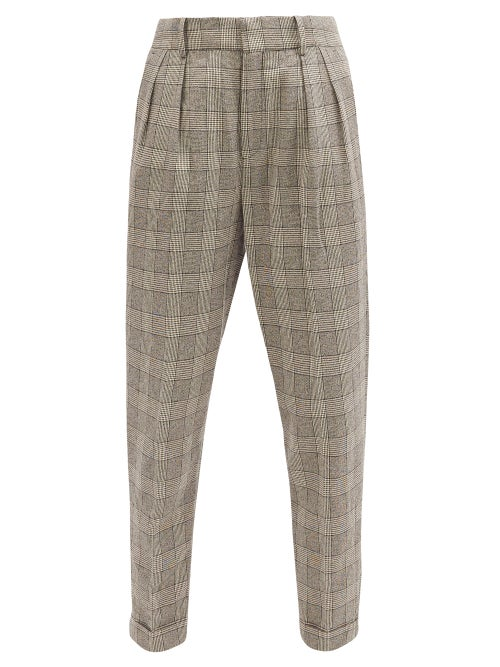 Isabel Marant - Magali High-rise Prince Of Wales-check Trousers - Womens - Grey
