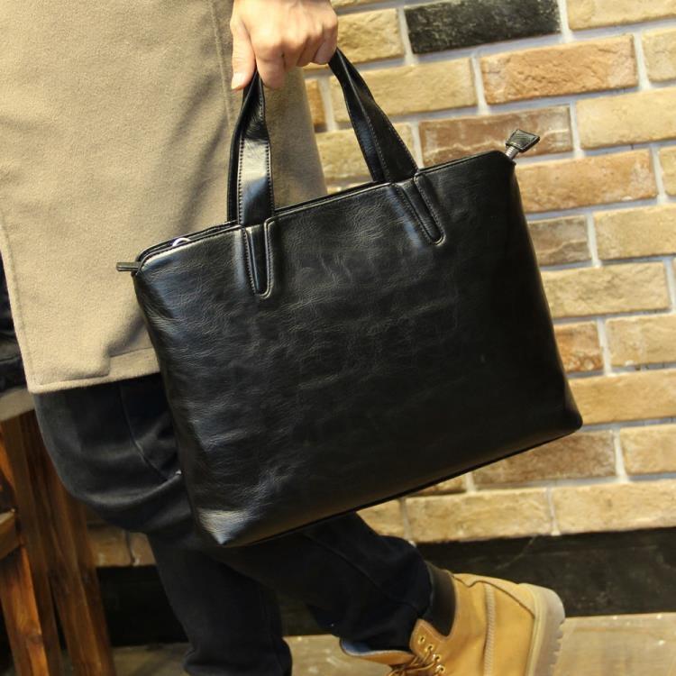 男包 韓版潮流男士手提包休閒側背斜背包電腦商務公文包皮質