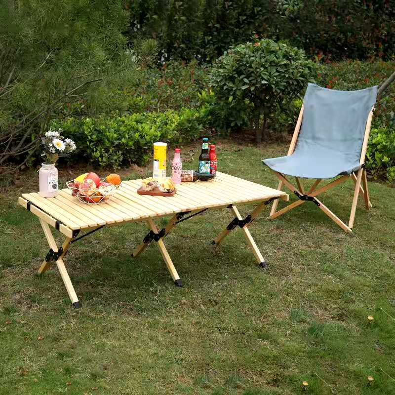 戶外折疊實木蛋卷桌露營旅行家用燒烤便攜式擺攤桌簡易野餐桌pd