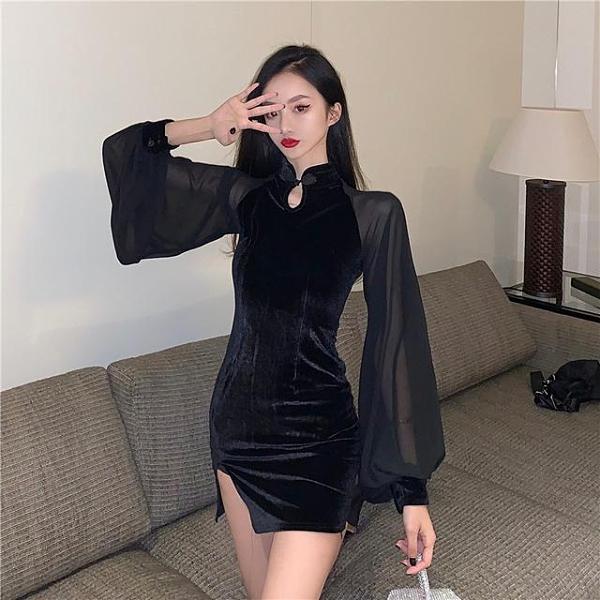 熱銷新品 韓版旗袍黑暗系女裝暗黑喪系厭世禁欲性冷淡風少女性感改良連衣裙