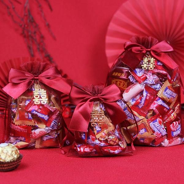 喜糖袋袋子紗袋抽繩禮盒裝禮袋糖果網紗糖盒糖袋婚慶結婚用品大全