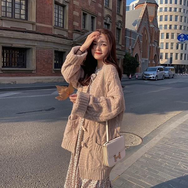 粗線毛衣開衫女冬加厚中長款寬鬆外穿年新款慵懶風針織衫外套