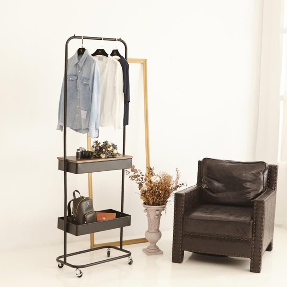 H&R安室家 工業風雙層置物籃掛衣架 LS217