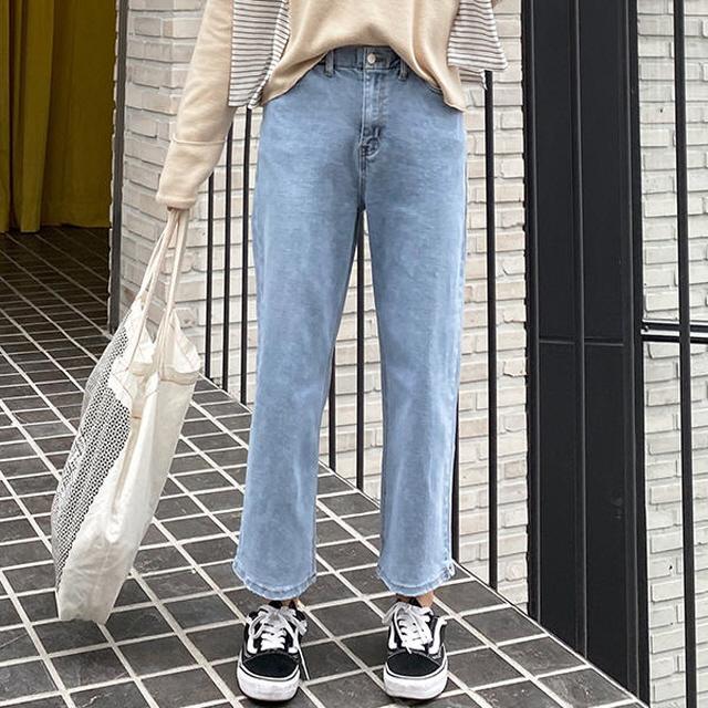 春秋季節鬆緊帶闊腿寬腿牛仔褲