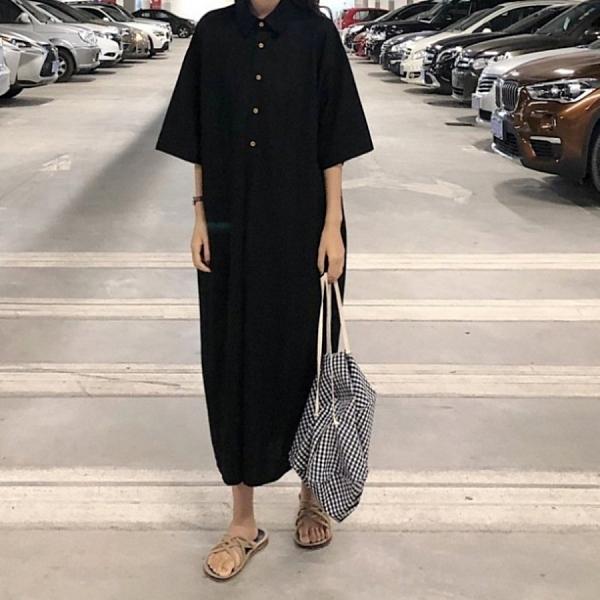 漂亮小媽咪 韓系 五分袖 洋裝 【D2281】純色 寬鬆 翻領 襯衫洋裝 長裙 短袖 中袖 孕婦裝 []