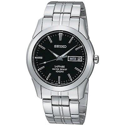 SEIKO 精工 7N43-0AR0D(SGG715J1) 經典藍寶石水晶鏡面鋼帶錶 紳士黑 35mm