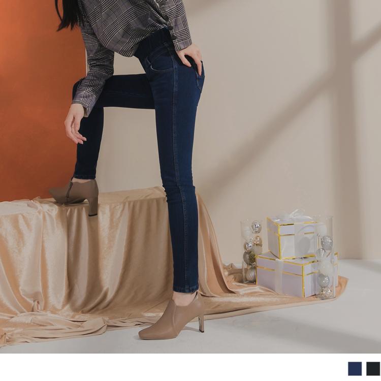 高含棉鬆緊高腰刷色內磨毛彈性窄管牛仔褲