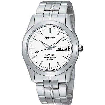 SEIKO 精工 7N43-0AR0S(SGG713J1) 經典藍寶石水晶鏡面鋼帶錶 氣質白 35mm