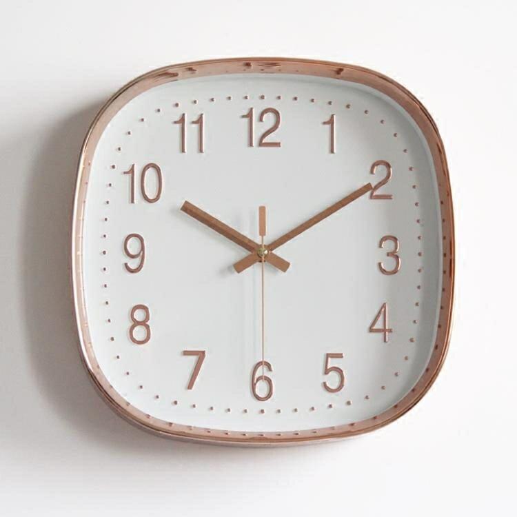 掛鐘鐘錶 方形掛鐘掛鐘簡約現代北歐靜音鐘表臥室客廳掛表正方形石英鐘時鐘