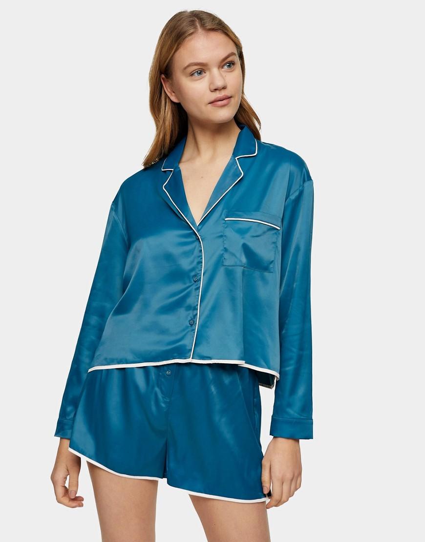 Topshop satin pyjama short set in teal-Blue
