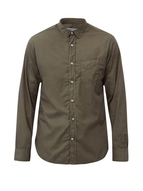 Officine Générale - Lipp Pigment-dyed Cotton-twill Shirt - Mens - Dark Green