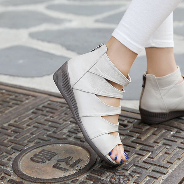 [Jayshu] 手工鞋 天然羊皮 HATIA 魚嘴鞋 4.5cm跟