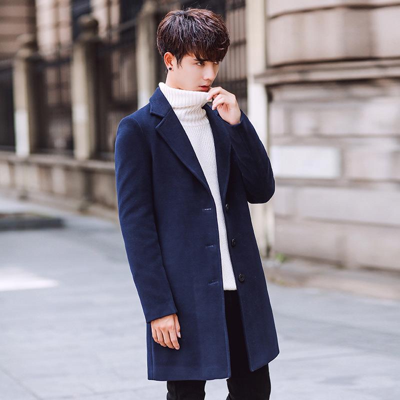 英倫時尚中長版毛呢大衣外套 質感西裝外套 小中大尺碼【QTJBYD67】