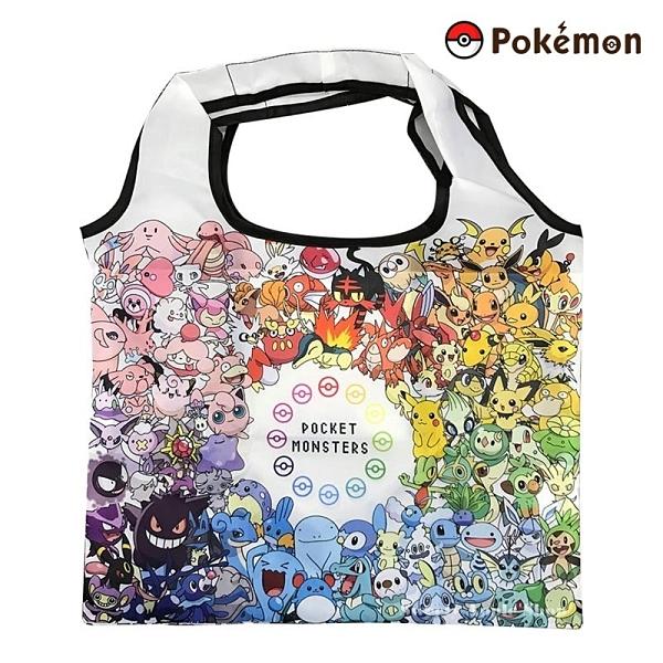 日本限定 寶可夢 皮卡丘 家族大集合滿版 折疊收納式 購物袋 / 收納袋