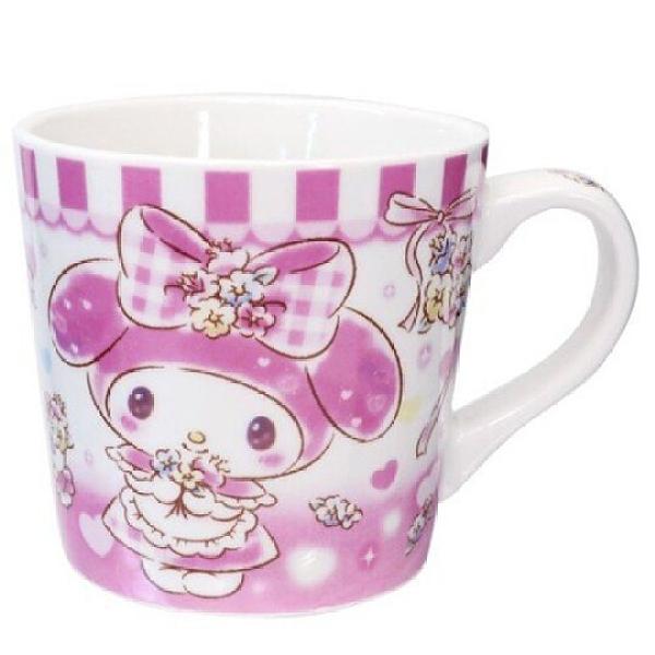 小禮堂 美樂蒂 陶瓷馬克杯 寬口杯 咖啡杯 陶瓷杯 (粉白 花束) 4548626-12714
