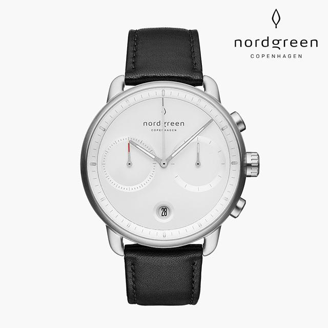 【Nordgreen】Pioneer 先鋒 月光銀系列 極夜黑真皮錶帶手錶 42mm