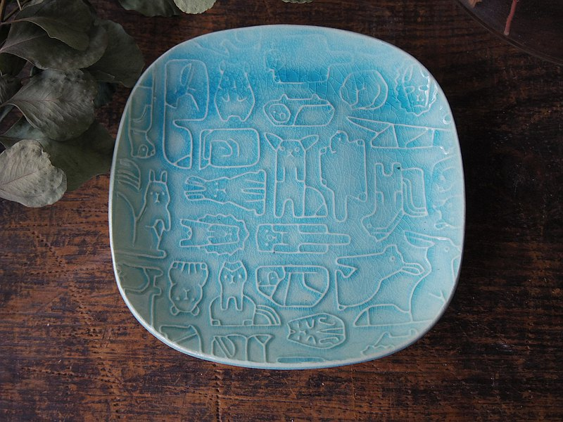救濟方形板土耳其藍色小動物