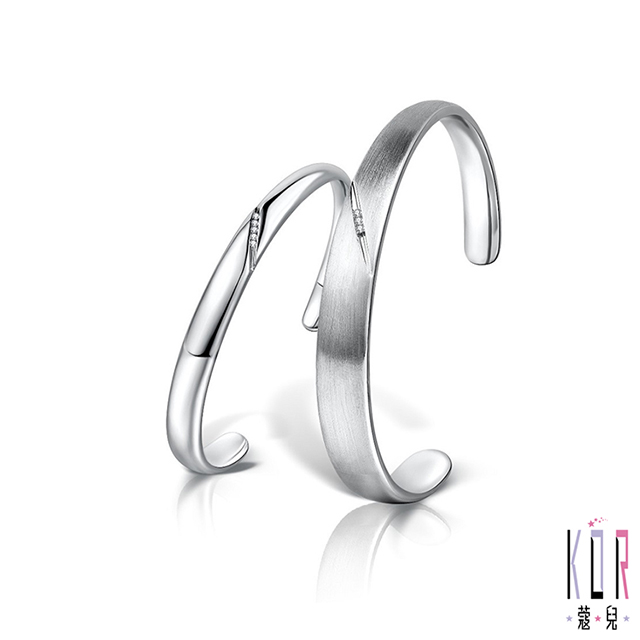 KOR蔻兒 刻愛鑽石/白鋼成對手環(手環外側可刻字)