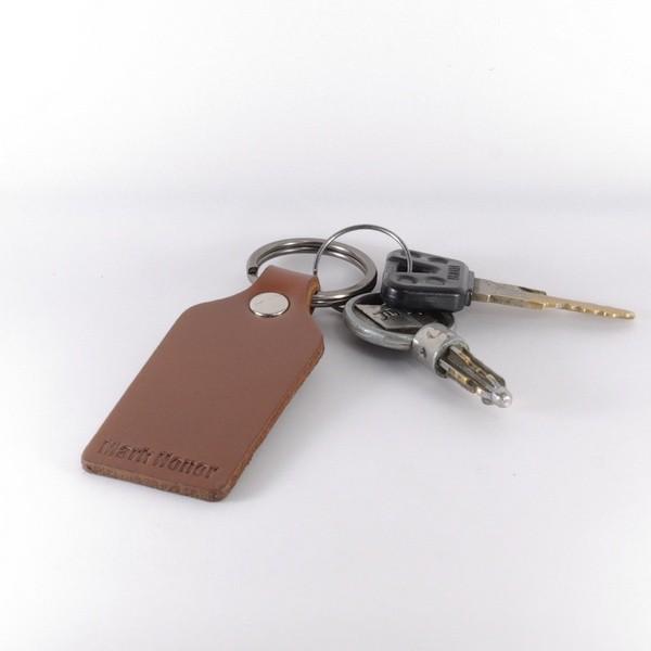寛版真皮皮革 咖啡色 鑰匙圈