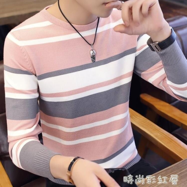 男士針織衫2020新款早秋季韓版圓領毛衣個性線衫酷男裝條紋線衣服