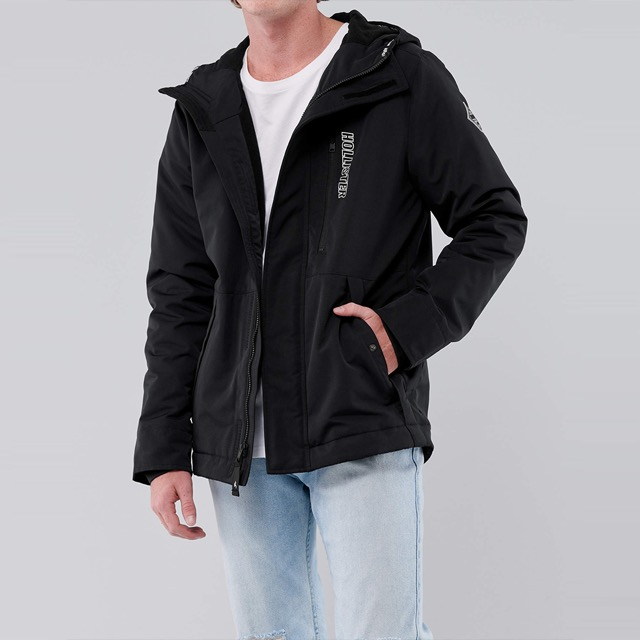 HCO Hollister 年度熱銷經典印刷標誌鋪棉連帽風衣外套-黑色