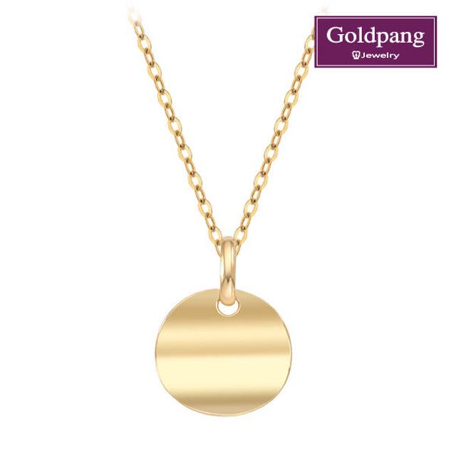 [Gold Pang] 18kGold 迷你彎曲圓餅項鍊